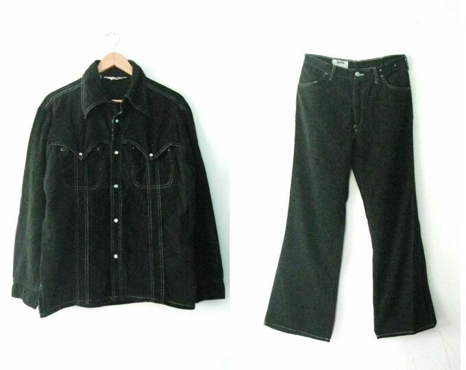 Vintage 70s black denim suit  'The Man in Black' / snap button jacket shirt / white stitching western Boho Mens jacket and pants set