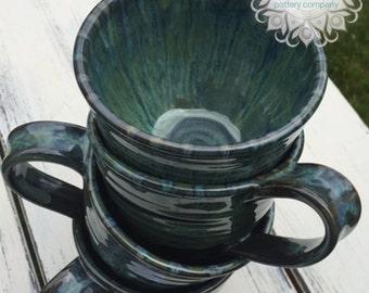 Coffee Mug Pottery, Green Mug For Coffee, Pottery Gift,Gift for Coffee Lover,