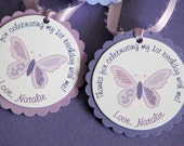Butterfly Favor Tags - Purple Butterfly - Colors can be changed - SET OF 12