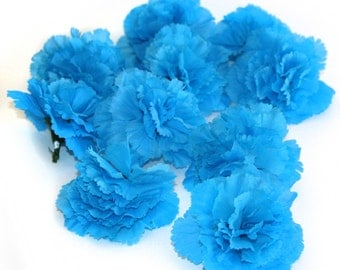 10 Turquoise Jubilee Carnations - Artificial Flowers - Bargain Flowers