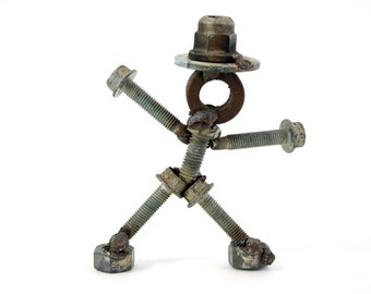 Folk Art Original Assemblage Nuts and Bolts Man Top Hat Broadway Sculpture Strut Wheel Bearing Auto Garage One of A Kind Metal Rust Welded