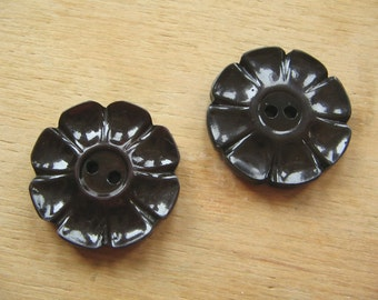 Vintage Flower Shaped Buttons - A Pair of Vintage Flower Buttons - Old Flower Shaped Buttons - Dark Brown