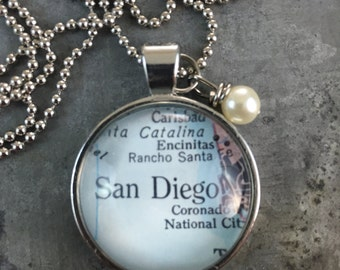 Map Pendant Necklace San Diego California CA