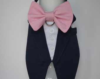 Dog Wedding Tuxedo, Navy Boy Dog Harness