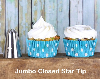 Jumbo Closed Star Frosting Tip, Jumbo Closed Star Icing Nozzle, Jumbo Closed Star Decorating Tip, Closed Star Pastry Tube, Icing Tubes