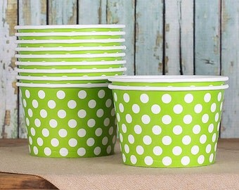 Large Line Green Polka Dot Paper Ice Cream Cups, Ice Cream Bowls, Sundae Cups, Lime Green Dessert Cups, 8 oz Ice Cream Party Cups (18)