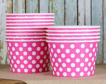 Large Polka Dot Pink Ice Cream Cups, Pink Ice Cream Bowls, Sundae Cups, Ice Cream Party Cups, Dessert Cups, 8oz Paper Ice Cream Cups (18)