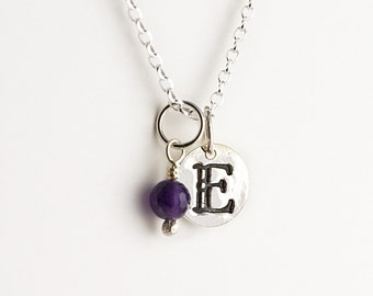 Monogram Initial / Letter Necklace with birthstone charm, Mother's necklace