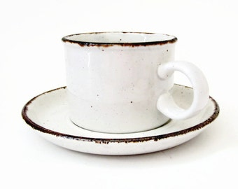MIDWINTER Flat Cup & Saucer -  Brown Specks and Trim on White - England