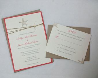 Coral Starfish Wedding Invitations/Beach Wedding Invitation/Summer Wedding Invitations DEPOSIT