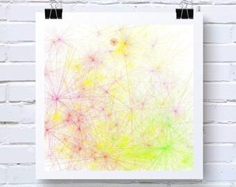 Tie Dye inspired Abstract Generative Art, by San Francisco artist Kristin Henry. Yellow, Green, Orange. fine art print  Tiedye08
