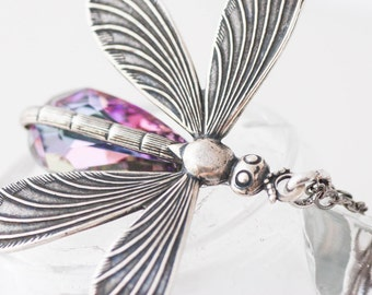 Dragonfly Necklace, Dragonfly Jewelry Purple Swarovski Crystal Silver and Gunmetal Necklace Birthstone