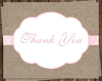 Burlap Thank You Cards, Country, Chic, Rustic, Lace, Pink, Baby Shower, Bridal, Wedding, 24 Folding Notes, FREE Shipping