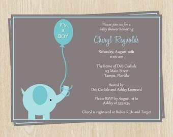 Elephant Baby Shower Invitations, Baby Boy, Blue, Balloon, It's a Boy, Set of 10 Printed Cards, FREE Shipping, ELSBL, Elephant Shower Boy