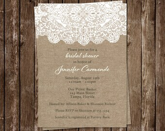 Burlap and Lace Bridal Shower Invitations, Wedding, White, Country, Chic Rustic, Set of 10 Printed Cards, FREE Shipping, WBURLA, Burlap Lace