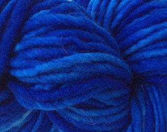 True Blue Single Ply Yarn Bulky Chunky Weight Hand Dyed Wool Yarn Pencil Roving 60 yards