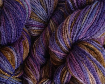 Merino Wool Yarn DK Sport Weight Handpainted Hand Dyed in Violet Park Purple Olive