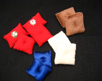 Mini Doll House Pillows Vintage Handmade Red White Blue and Brown