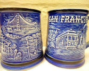 Set Of Two Mid Century Vintage San Francisco Coffee Mugs