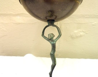 Wonderful Aged Brass Israeli Art Nouveau Figural Dish/Bowl