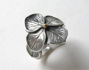 Hydrangea Petal Sterling Silver Ring 18k
