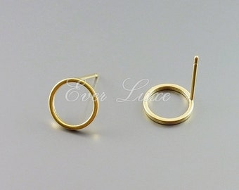4 round 10mm circle stud earrings, round hoop earrings, earring making, jewelry, jewellery supplies 1071-MG-10 (matte gold, 10mm, 4 pieces)