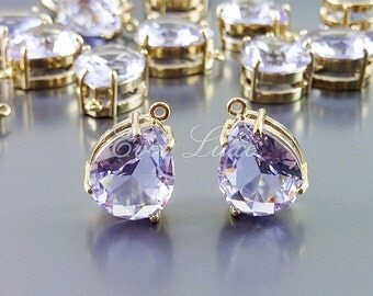 2 lavender / light purple glass faceted teardrop charms, necklace pendant, DIY crafts 5067G-LA