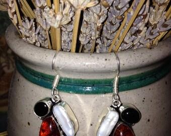 Amber, biwa pearl and black onyx earrings