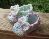 Toddler Slippers, whit with purple, turquoise and green, fits toddler size 7 to 9