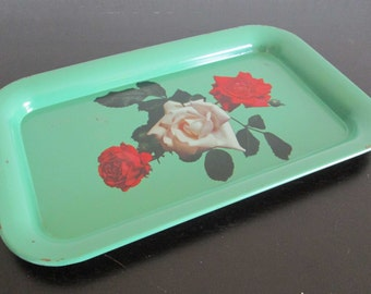 Green Rose Floral Cottage Chic Distressed Metal Serving Tray
