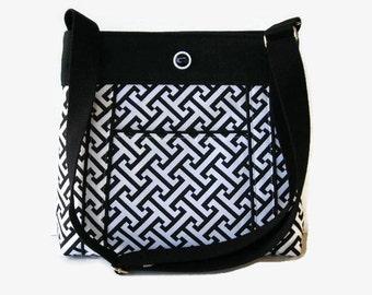Black and White Canvas Crossbody Bag - Made to Order - Black Fabric Messenger Purse - Adjustable Strap - Womens Pocketbook - Canvas Handbag