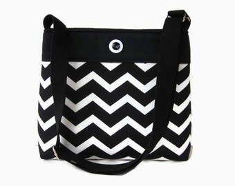 Black and White Chevron Canvas Fabric Crossbody Purse - Chevron Messenger Bag - Black Shoulder Bag - Adjustable Strap - Womens Handbag Purse