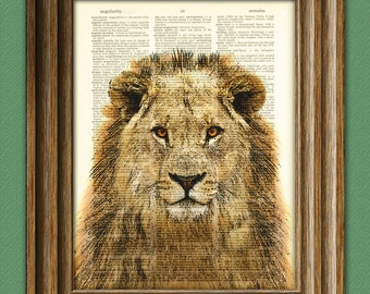 Lion Art Print over an upcycled vintage dictionary page book Jungle art print