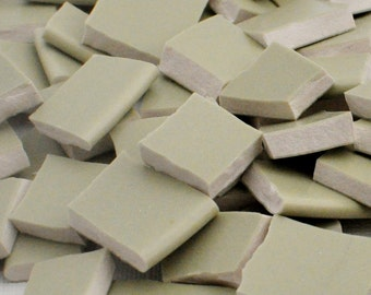 Broken China Mosaic Tiles - Light Green - Solid Color - Recycled Plates - Set of 100
