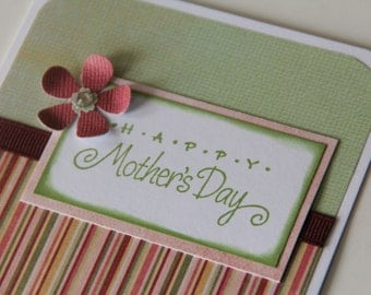 Happy Mother's Day Card with Striped Pattern, Stamped Card for Mom, Mother's Day Greeting Card (MD1510)