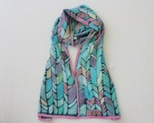 Hand painted silk scarf (blue purple yellow pink colors), abstract scarf, pure silk scarves, one of a kind gifts, hand dyed silk
