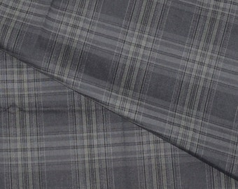 1960s Vintage Cotton Shirting Fabric Classic Gray Plaid Menswear 1 and 1/2 Yards