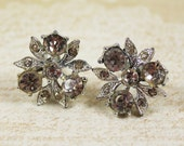 Vintage Clear Rhinestone Flower Silver Screw Back Earrings