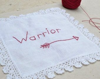 Warrior...Hand Embroidery on Vintage Linen and Lace