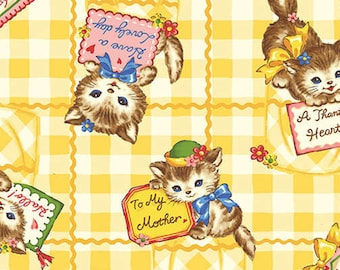 SALE, Quilt Gate, Pocket Kittens, Kittens Yellow Notes, 1 yard
