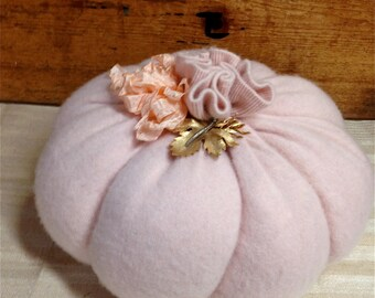 Pumpkin decor Upcycled recycled shabby pink sweater pumpkin