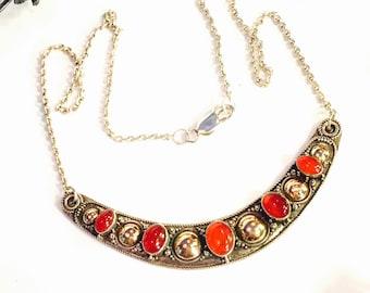 Beautiful Sterling Silver Brass Gold Carnelian Crescent Vintage Neckalce