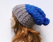Crochet Pattern, Slouch Hat Pattern, Crochet Hat Pattern with Pom Pom Instant Download