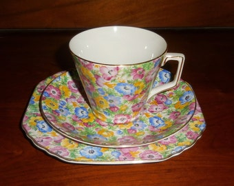 Vintage English Chintz Trio - Lord Nelson 'Anemone ' - Cup, Saucer, Plate