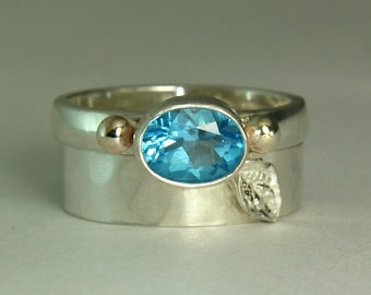 Dainty Topaz Ring, Sterling Silver Stacker Ring, Swiss Topaz Leaf Ring, Faceted Gemstone, Artisan Jewelry