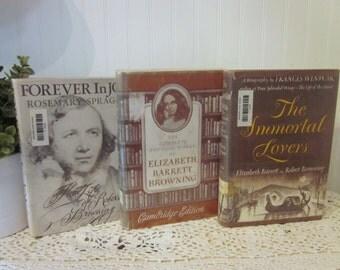 3 Elizabeth Barrett & Robert Browning vintage books (c) 1900-1950-1966 HCDJ Immortal Lovers, Winwar, Complete Works, Forever in Joy, Sprague