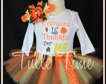 Embroidered Everyone is Thankful for me First 1st Thanksgiving Turkey body suit onesie tutu dress outfit with bow sizes N, 0-3m, 3-6m, 6-12m