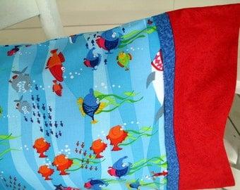 Toddler Boy Pillowcase, Travel Pillowcase, Pillowcase with Underwater Print