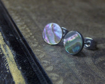 METOPE- Large. Abalone shell and titanium stud post earrings. Boho Beach wares