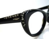 Vintage 50s Black Cateye With Rhinestone Accents Eyeglasses Eyewear Frame NOS